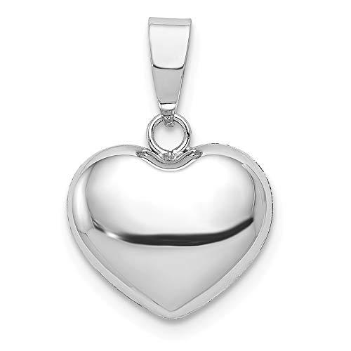 Diamond2deal Herz-Anhänger für Halskette, 14 Karat Weißgold, gepufft (Diamant-halskette 1 2 Karat)