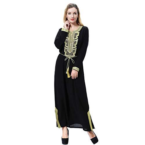 RISTHY Muslim Lange Kleider Damen Kleider Einfarbig mit Seitenschlitzen Türkische Kleidung Damen Langarm Maxi Kleider Elegante arabische Kleidung Kaftan ()