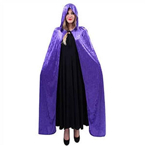 2019 Bequeme Mode Erwachsener Kapuzenumhang Halloween Kostüme Hexe Kap Schal-Kapuzen Kleid Teufel Robe Wickel Puncho Mantel für Halloween-Party Cosplay Playwear eine Größe (Color : Purple)