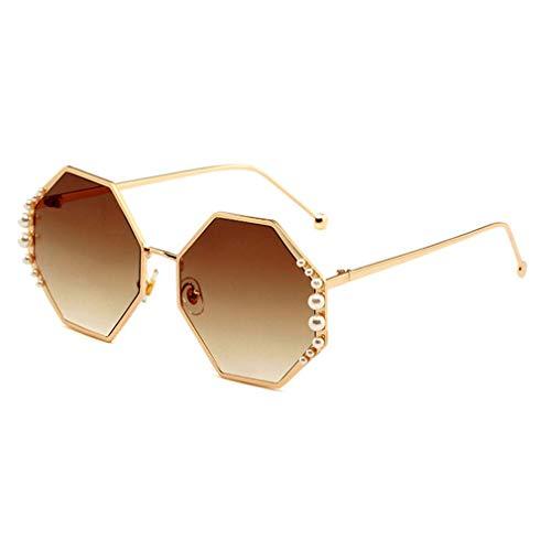 HQMGLASSES Damen-Sunglasses Designer-Pearl-Verschönerung Gold-Ton Frame Gradient Lens Shades Sonnenbrille für Driving/Holiday, UV 400 Schutz,06
