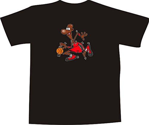T-Shirt E1257 Schönes T-Shirt mit farbigem Brustaufdruck - Logo / Grafik / Design - Basketball Spieler mit Ball / NBA USA Mehrfarbig
