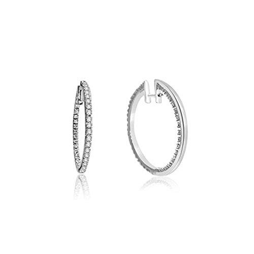 0.38ct H/SI1 Diamant Reifen Ohrringe für Damen mit runden Brillantschliff diamanten in 18kt (750) (Zu Besten Kostüme Am Zweit)