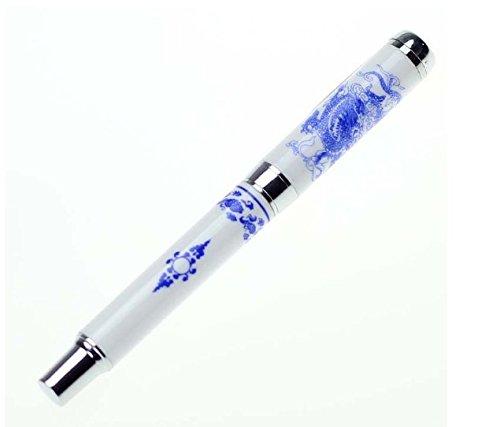 tmodd Luxury–Pluma estilográfica azul y blanco porcelana dragón, punta media