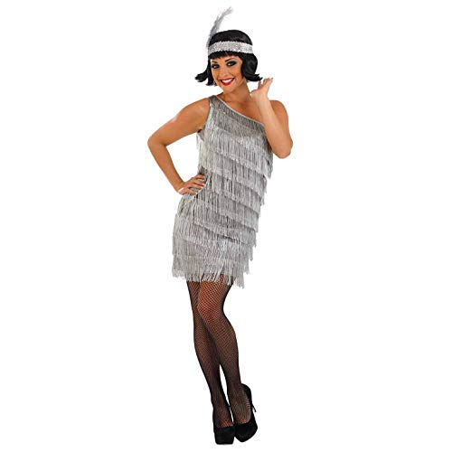 1920 Kostüm Girl Flapper - Fun Shack Damen Costume Kostüm, 20s Silver Asymmetric Flapper Girl, XXL