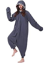 DarkCom Adulto Mamelucos Mujeres Pijamas Sleepsuit Esponjoso Kigurumi Disfraces De Halloween Traje Negro Tiburón
