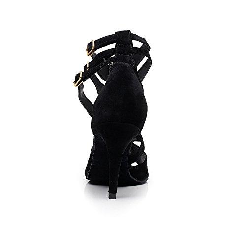 Miyoopark - Ballroom donna Suede-Black-8.5cm Heel