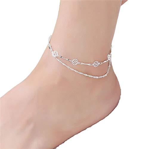 Fußkettchen für Frauen 925 Silber Fußkettchen Ms. Koreanische Version Mode einfache Füße Schmuck Fußkettchen für Frauen Fußkettchen am Bein, metall, a, Einheitsgröße - Perle Silber Beine