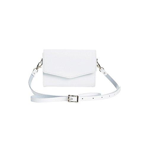 Zatchels Micro - Pochette à bandoulière en cuir (Fabrication britannique à la main) - Femme Blanc