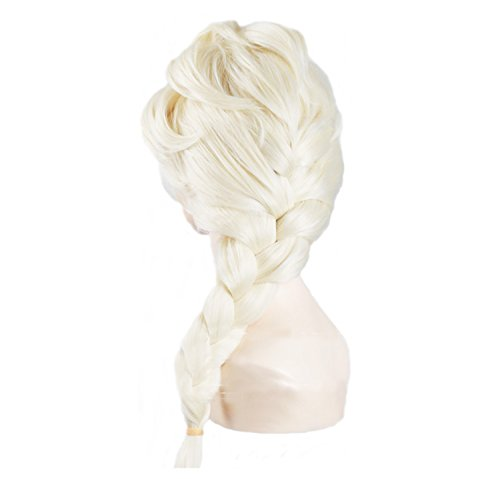 EBASE Elsa Cosplay Wig, Spiral Curly Cosplay Wig, Anna Wig, Brown Long and Curly Hair Wig (Elsa Wig White) by EBASE (White Queen Perücke)