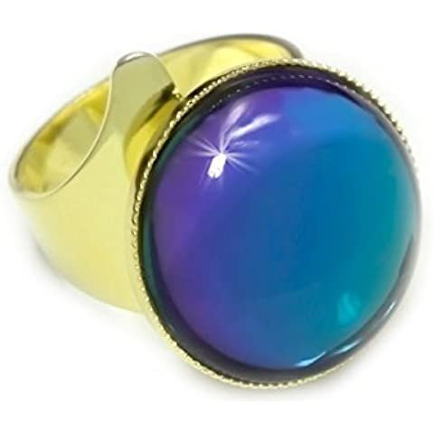 Placcati in Oro 24K Fantasia Anello Universale Regolabile Dimensioni 18mm Crystal Vitrail Bermuda Blu Round ceco Pietra di Vetro fatti a Mano