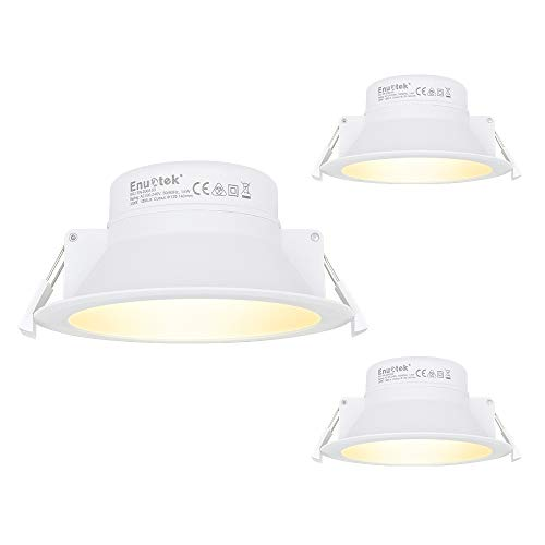 14W LED Einbauleuchten Einbaustrahler Deckenleuchten Flach Bad Küche Warmweiß 3000K 1200Lm Deckenloch Φ120MM AC100~240V IP44 3er Pack von Enuotek