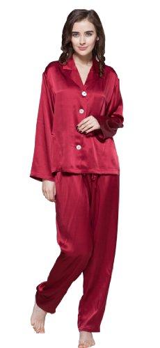22 Momme Damen Lang Nachtwäsche Nachtkleid Seiden von Lilysilk Rot