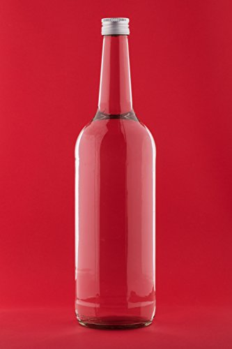 6 x 1000ml Botella de Vidrio Vació, Botella para Jugo, Licores, Agua,