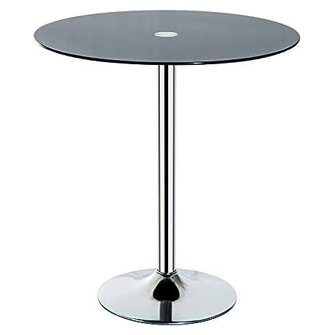 HOMCOM Round Bar Table Pub Bistro Wine Counter w/ Black