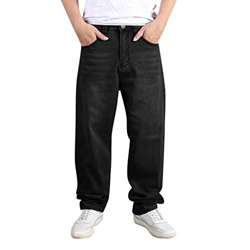 MakefortuneNew Herren Straight Leg Basic Heavy Work Jeans Jeanshose Big Sizes in 2 Farben - Blau, Schwarz -