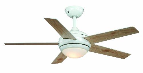 Ventilateur de plafond Fresco blanc, télécommande incluse, pâles à double face blanc/pin, 112 cm