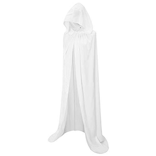 LOPILY Umhang Kleid mit Kapuze Vintage Wasserfall Samtumhang Cape Vampir Kostüm Halloween Damen Cosplay Umhang Prop für Weihnachten Masquerade Mittelalter Bekleidung Karneval Kostüme (Weiß, 36)
