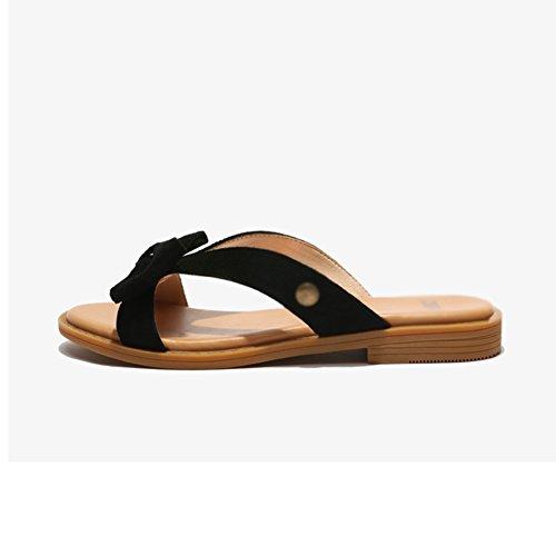 PENGFEI Verano Zapatillas Hembra Fondo Plano Playa Ropa Exterior Corbata De Moño Altura del Talón 2CM, 3 Colores (Color : Negro)