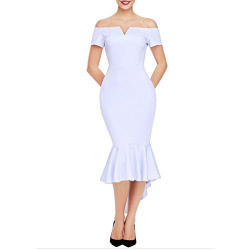 Kleid der Frau Frauen Kleid 2018 klassischen Stil Fischschwanz Rock Kleider aus Schulter V-Ausschnitt reine Farbe Kurzarm unregelmäßige Abend Party Kleider ( Color : Weiß , Größe : XL ) (Kleid Abend Schaufensterpuppe)