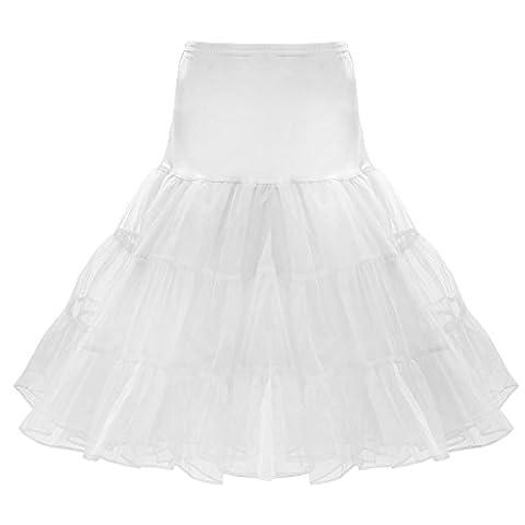 Retro Jupon Long Jupon Année 50 Chic Crinoline Rockabilly Petticoat Tutu - Blanc, M