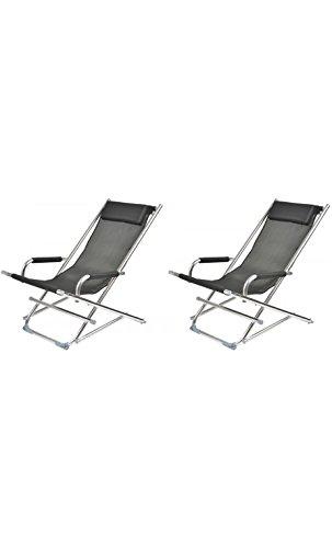 La Chaise Longue 36-1J-002 Chaise longue de jardin Rocking chair Pliable Avec accoudoirs et coussin appui-tête Aluminium et toile textilène Noir H80 x 60 x 90 cm