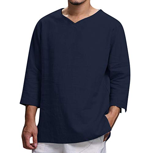 Leinenhemd Herren Kurzarm Hemd,Herren Sommer Neue Reine Baumwolle und Hanf Top komfortable Mode Bluse Top,Herren Sommerhemd Hemd Blusen Oberteil Tunika Bluse Tang Anzug