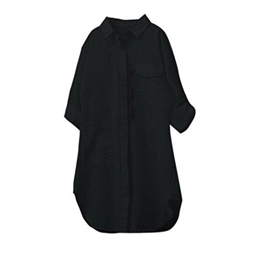 TianWlio Langarm Bluse Damen Heißer Mode Frauen Damen Sommer Herbst Freien Baumwolle Solide Langarm-Shirt Beiläufige Lose Bluse Button-Down Tops