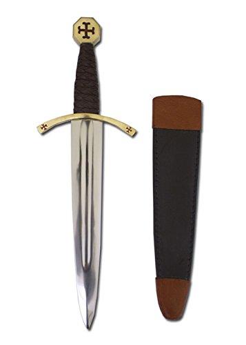 Templer-Dolch mit Scheide - Ritter-Dolch aus echtem Stahl - Mittelalter-Dolch für Erwachsene -