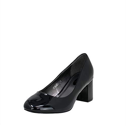 Fitters Footwear That Fits Donne Pompe Sesy Vernice Décolleté con Tacco a Blocco (43 EU, Nera)