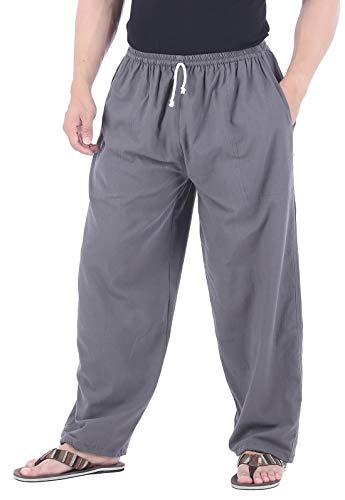 Hosen Baumwollhose aus wohlig weicher, 100% Reiner Naturbaumwolle, mit Tasche, Tunnelzug und Elastische Taille (XL/XXL, Grau) ()