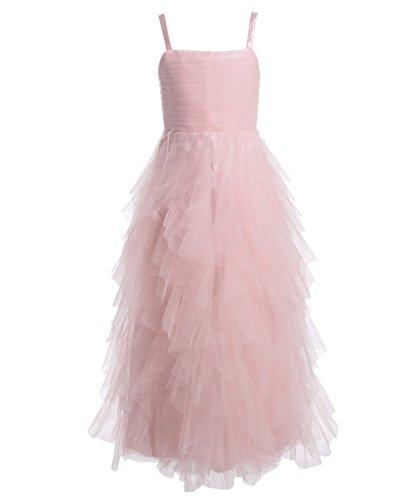 ns Spaghetti Bügel Puffy Rüschen Layered Festzug Partei Blumenmädchen Kleid K0148 14 Rosa (Erste Kommunion Kleider Puffy)
