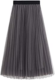 Women's Skirt Long Tulle Skirt Tutu Swing Skirts Pleated Maxi Chiffon Petticoat High Elastic Waist Midi Sk