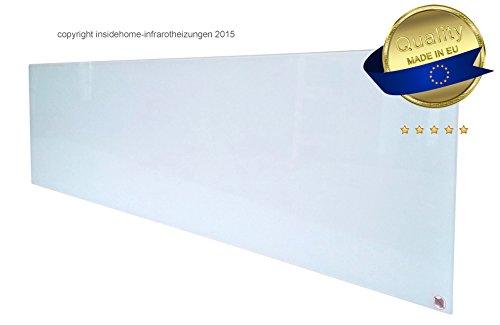 Infrarotheizung Glas rahmenlos, weiß, 360 Watt - lang