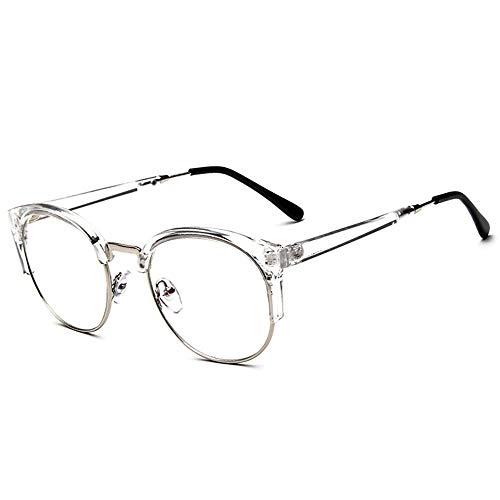 Shuxinmd Stilvoller Brillenrahmen Unisex Vintage Brille Horn Umrandeten Nerd Metall Brillen Optische Brille Half Frame Brille für Frau und Mann Vielzahl von Stilen (Color : Clear)