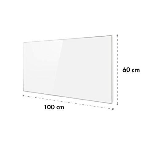 Klarstein Wonderwall 60 • Panel de calefacción por Infrarrojos • 60x100cm • 600W • Anti sobrecalentamiento • IP24 • Temporizador • Ideal sensibles al Polvo • Superplano • Cristal de Carbono • Blanco