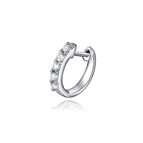18K Oro bianco cinque di pietra dei canali diamante singolo orecchino ad anello (0,09 cttw, G-H colori, VS2-SI1 Chiarezza) gioielli regalo donne