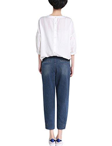 Youlee Damen Sommer Frühling Jeans mit Taschen Blau