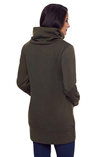 Sweat-shirt à capuche à poche à manches longues BaronHong Funnel Neck Vert