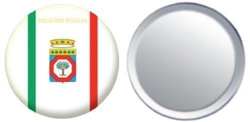 Miroir insigne de bouton Italie Apulia drapeau - 58mm