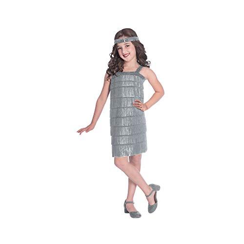 amscan Silberne Flapper Kostüm für Kinder mit Kleid und Kopfbedeckung für 10 bis 12 Jahre (Flapper Kostüm Kopfbedeckung)