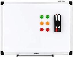 AmazonBasics droog wisbaar magnetisch whiteboard met pennenbakje en aluminium rand, 60 cm x 45 cm (B x H)