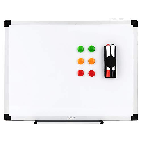 AmazonBasics Whiteboard Drywipe Magnetic with Pen Tray and Aluminium Trim, 90 cm x 60 cm (WxH)