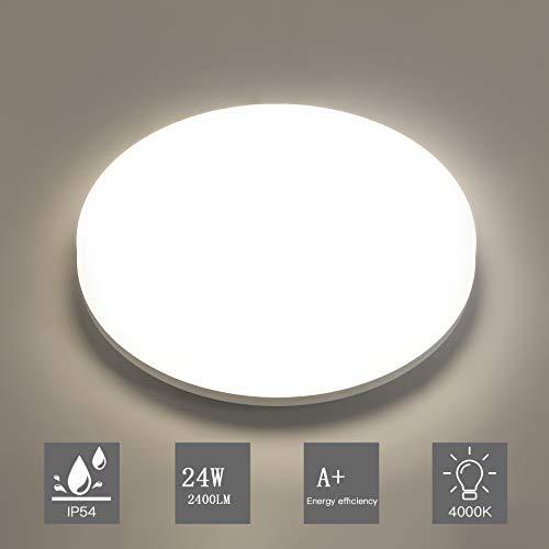 Aogled LED Deckenleuchte 24W 2400LM 4000K Naturweiß Rund,28cm Durchmesser,180 Abstrahlwinkel,Badlampe IP54 Wasserfest,Wohnzimmer-lampe, Deckenlampe,Deckenstrahler,Weiß,Badezimmer und Balkon Geeignet -