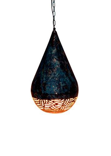 (Emporio Arts New handgefertigt Hanging Vintage Anhänger Light Drop Ballon Form Deckenleuchte Schatten in Ätzen lzc2526halbes Zebra, Eisen, grün patina, E27, 60Watt)