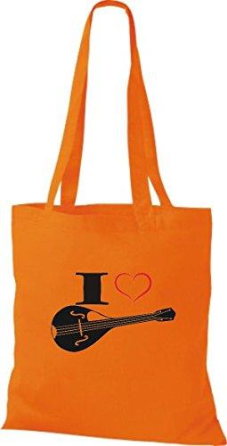 Shirtstown Stoffbeutel Musik I love Mandoline Orange