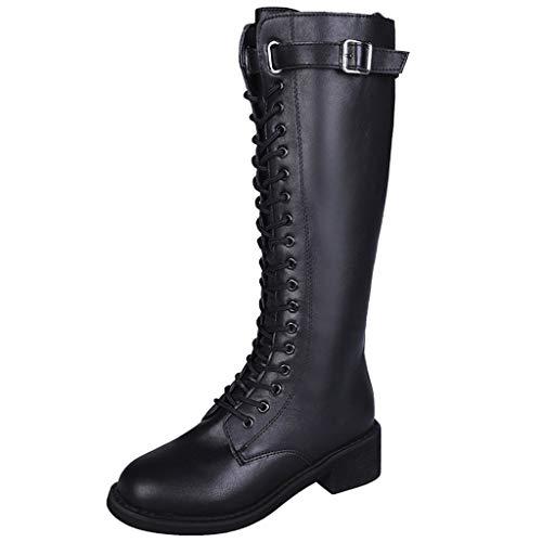 MXJEEIO- Zapatos Botas Moda Mujer Estilo Inglaterra Cuero Martin...