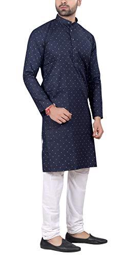 RC Ethnic Men's Cotton Denim Full Sleeves Polka Printed Kurta and Pyjama Set (Dark Blue and White)