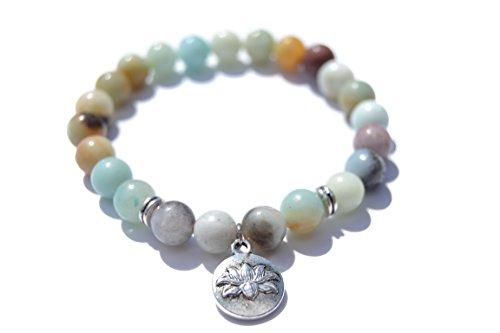 Bracciale amazzonite moda yoga chakras di perle preziose semipreciosas di pietre naturali per uomo donna ideale per yoga, reiki, chakras, meditazione