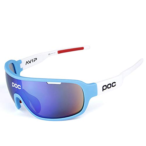 AUMING Polarisationsbrille Polarisationsbrille Polarized Sunglasses Sport Ciclismo Schutzbrille UV400 Superlight Frame Design für Männer und Frauen 5 austauschbare Gläser 7 Farben Blue White