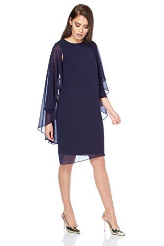 Roman Originals Weiches Damen Chiffon-Cape-Kleid Marineblau 38-48 - Midnight Blue - Größe 42